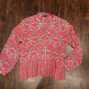 Kaari Blue Pink Long Sleeve Blouse. Large